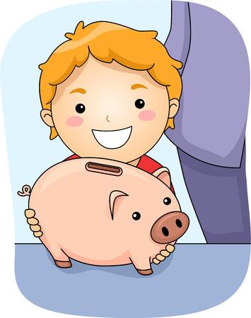 thrift: Illustration Featuring a Boy Holding a Piggy Bank