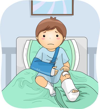 다리 캐스트를 입고 부상 소년을 갖춘 그림