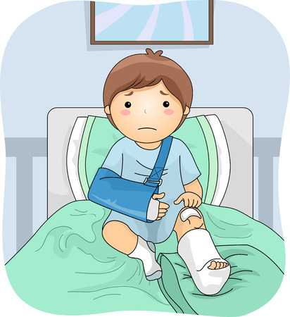 Illustration Featuring an Injured Boy Wearing a Leg Cast