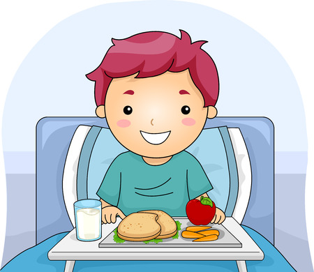 confined: Illustration Featuring a Boy With a Meal Tray in Front of Him