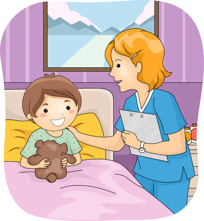 confinement: Illustration Featuring a Nurse Attending to Her Young Patient