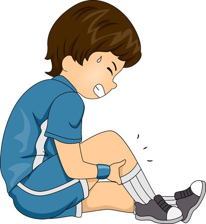 lesionado: Ilustración que ofrece un Boy La Calambres en las piernas