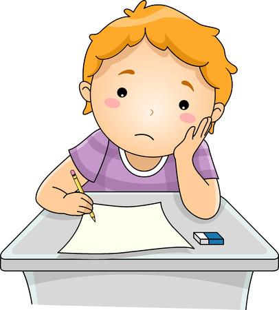 Illustratie die een jongen zijn Test Papier met een Droevig Gezicht