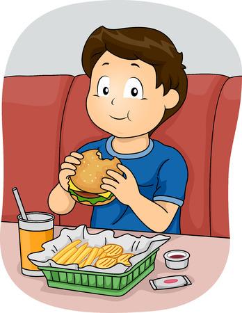 voedingsmiddelen: Illustratie die een Jongen die Fast Food