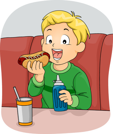 unhealthy food: Illustration Featuring a Boy Eating a Hotdog Sandwich