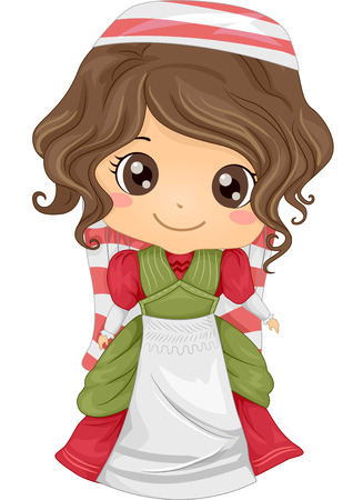 costumes: Illustration Featuring a Girl Wearing an Italian Costume Illustration