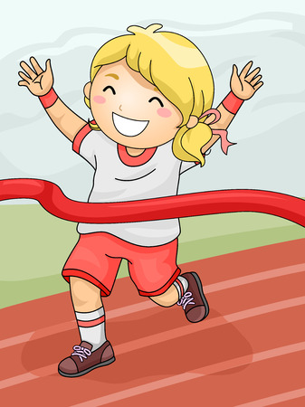 track and field athlete: Illustration Featuring a Girl Celebrating Her Winning of the Race