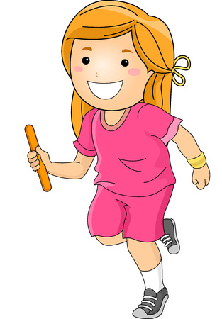 relay baton: Illustration Featuring a Girl Participating in a Relay Race