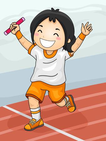 carrera de relevos: Ilustración con una chica celebrando su victoria de la carrera de relevos