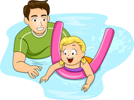 Illustration Featuring a Swimming Coach Giving Lessons to a Girl