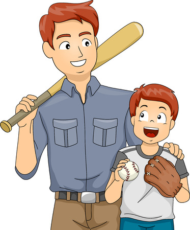 Illustration Featuring a Father and Son Bonding Over Baseball Vector