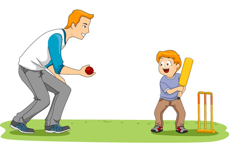 Illustration Featuring a Father and Son Playing Cricket 일러스트