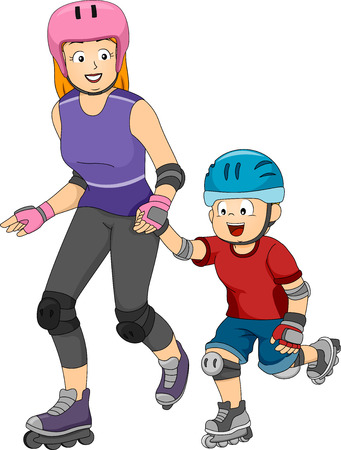 inline: Illustration Featuring a Mom Teaching His Son to Inline Skate Illustration