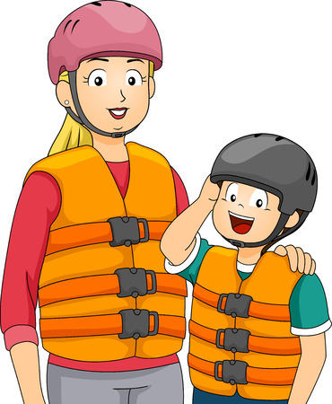 life jacket: Illustration Featuring a Mother and Son Wearing Life Vests