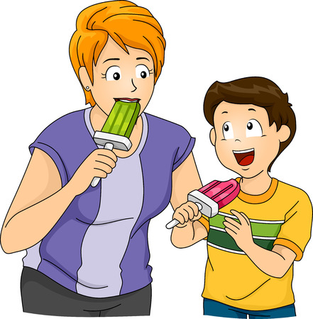 Illustration Featuring a Mother and Son Eating ice cream