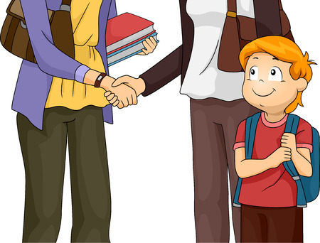 Illustration Featuring a Mother Having a Meeting with Her Sons Teacher Vector