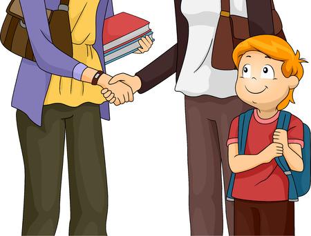 genitore figlio: Illustrazione con una madre Avere un incontro con l'insegnante del figlio Vettoriali