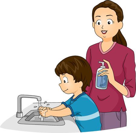 lavare le mani: Illustrazione con un ragazzo si lava le mani, mentre i suoi orologi Madre