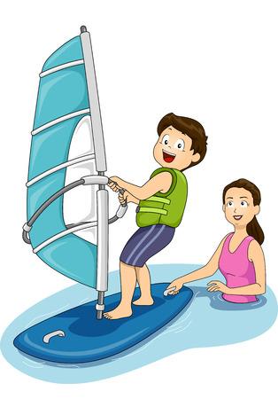 windsurf: Ilustración que ofrece una Madre que da clases de windsurf a Su Hijo Vectores