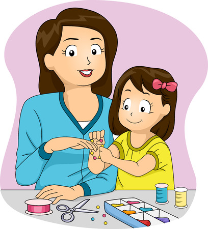 bracelet: Illustration Featuring a Mother and Daughter Making Homemade Accessories