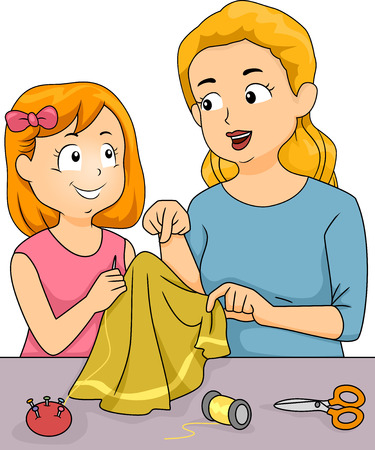 Illustration Featuring a Mother Giving Sewing Lessons to Her Daughter Vector