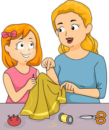 dersleri: Onun kızı Dikiş Dersleri verilmesi bir anne Featuring İllüstrasyon Çizim
