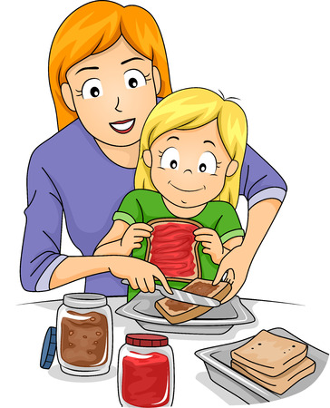 Illustration Featuring a Mother Teaching Her Daughter How to Make Sandwiches