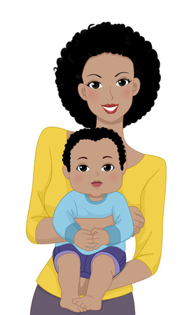 Illustration Featuring a Mother Carrying Her Young Baby Illustration
