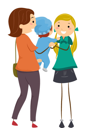 Ilustración que ofrece una madre entrega a su bebé a una niñera Ilustración de vector
