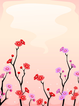 Peach flower: Background Illustration Featuring Cherry Blossoms in Full Bloom
