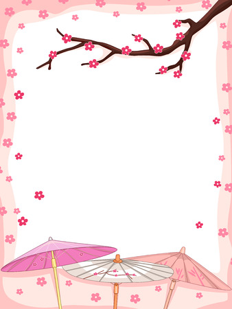 accent abstract: Background Illustration Featuring Cherry Blossoms Falling Down on Japanese Parasols