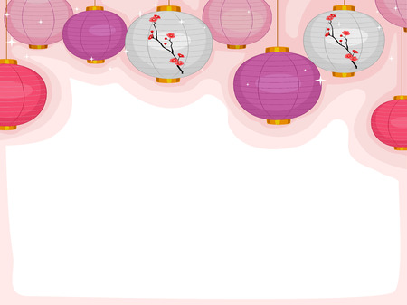 accent abstract: Background Illustration Featuring Colorful Japanese Lanterns Illustration