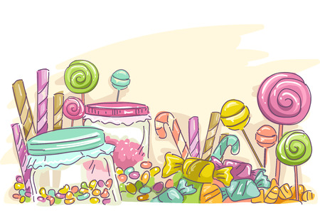 Sketchy Illustration Featuring Assorted Candies  イラスト・ベクター素材