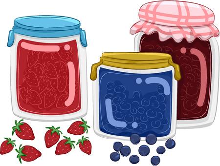 jams: Illustration Featuring Homemade Fruit Jams