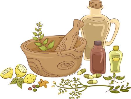 Ilustración que ofrece materiales para la fabricación casera Medicina Herbal Ilustración de vector