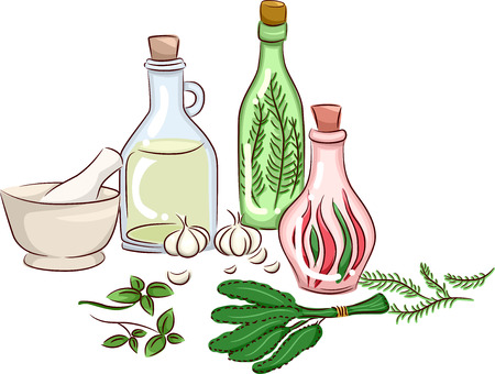 processed food: Illustration Featuring Herbs Being Made Into Oils and Other By-Products