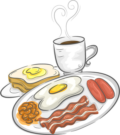 sunny side up eggs: Illustration Featuring a Full Breakfast