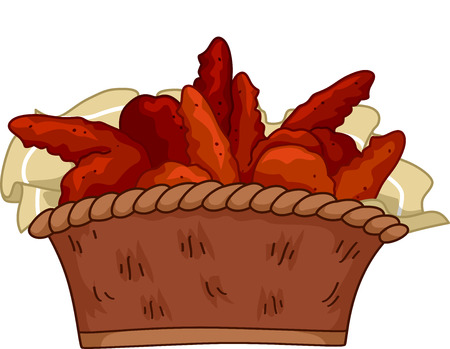 chicken wings: Illustration Featuring a Basket of Buffalo Wings Illustration