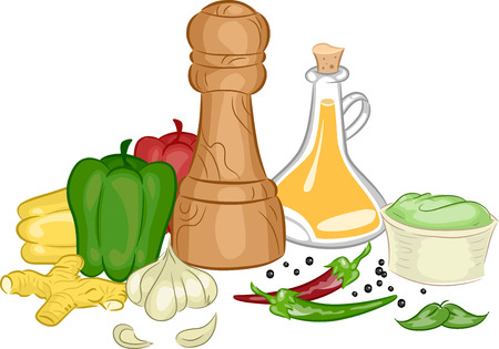 condiments: Illustration Featuring Different Types of Condiments and Spices