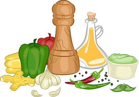 condimentos: Ilustraci�n con diferentes tipos de condimentos y especias Vectores