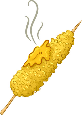 Illustration Featuring a Buttered Corn on the Cob