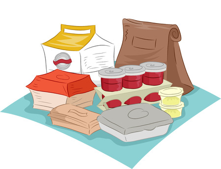 paper container: Illustration Featuring Different Fast Food Containers