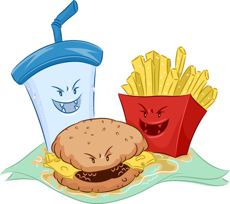 featuring: Mascot Illustration Featuring Common Fast Food Snacks
