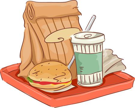 comida chatarra: Ilustraci�n con Comunes Fast Food Snacks en la bandeja Vectores
