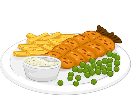fish and chips: Illustration Featuring a Plate of Fish and Chips Illustration