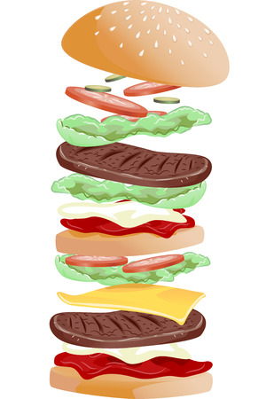 fillings: Illustration Featuring Different Hamburger Fillings