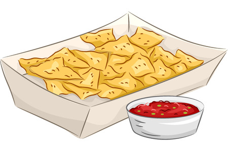 nachos: Illustration Featuring a Plate of Nachos Accompanied by a Bowl of Salsa