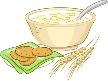 homemade bread: Illustration Featuring Oatmeal Cookies and the Ingredients for Making Them