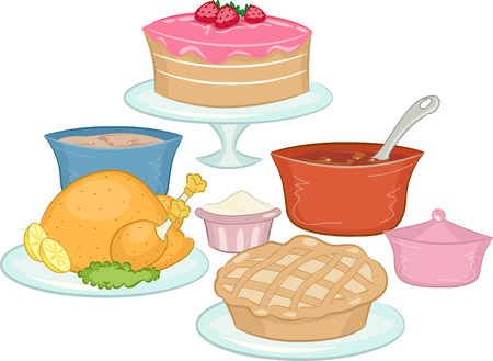 potluck: Illustration Featuring Food Commonly Brought on Potluck Parties