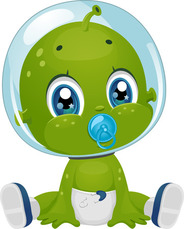 Illustration Featuring a Male Baby Alien in Diapers Sucking a Pacifier